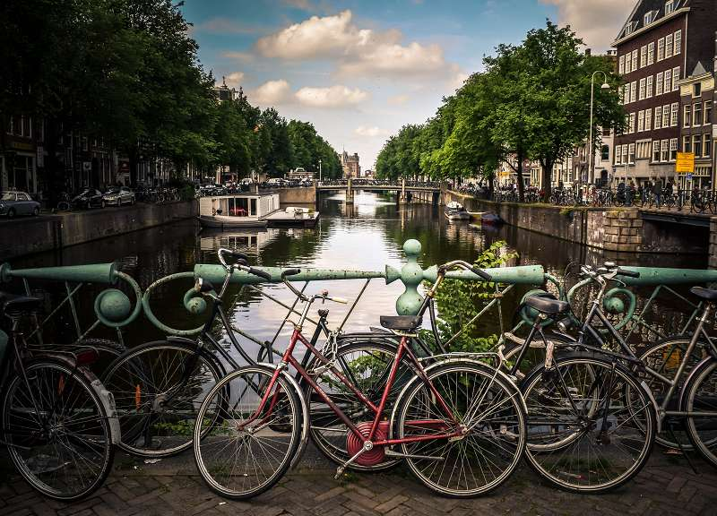 Amsterdam bikes and canal