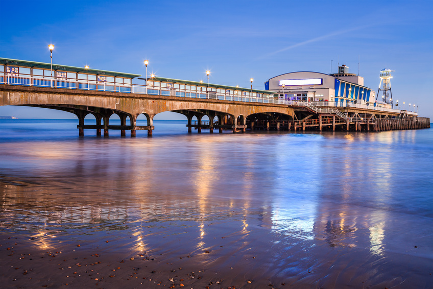The Bournemouth pier at sunset