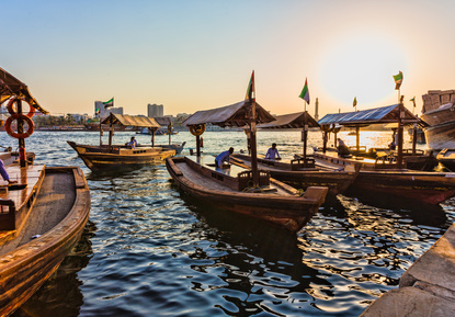 Boats on the water in Dubai