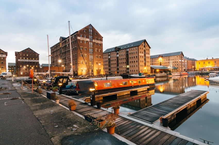 Gloucester Docks at sunset