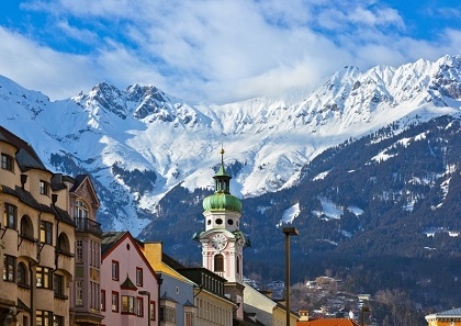 Innsbruck town in the mountains