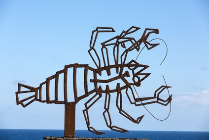 Lobster art against the sea