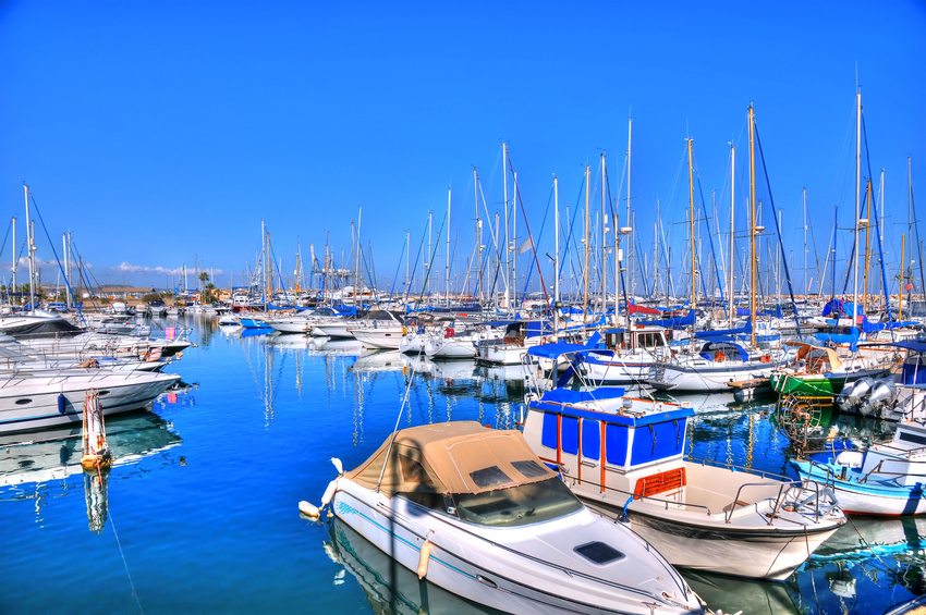 Larnaca port with boats