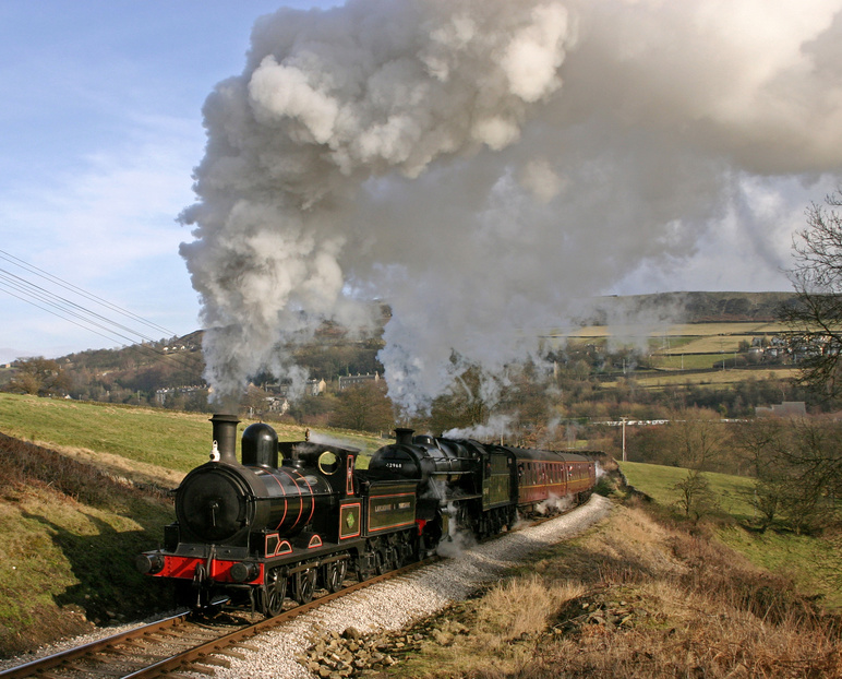 Steam train heading through Yorkshire