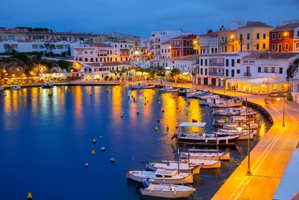 The harbour in Menorca at night