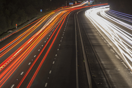 Lights on the motorway at night