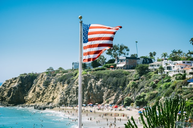 America Flag on the Beach