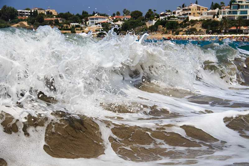 Crashing waves on Cyprus beach