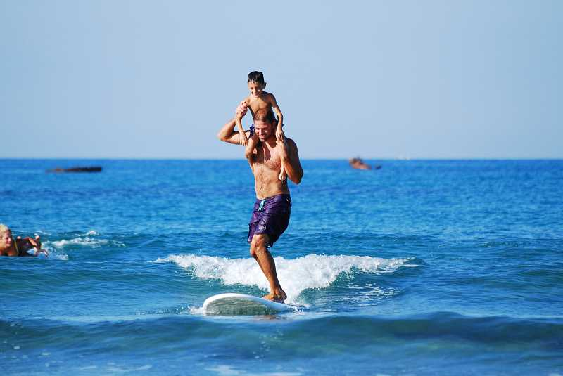 Surfing with kids in Cyprus