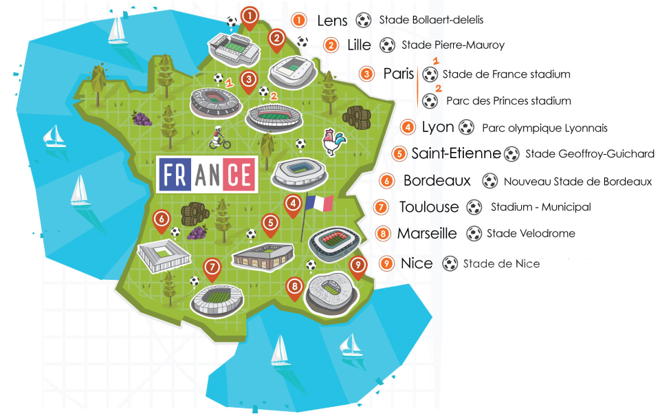 France Overview Map of Stadiums for the Euros 2016 Guide