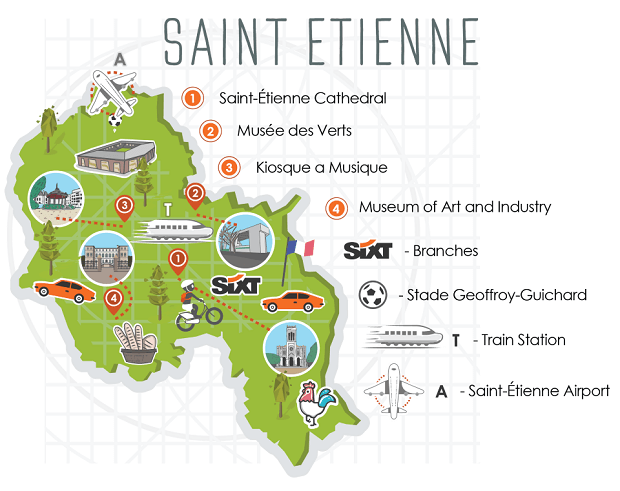 Saint Etienne City Map