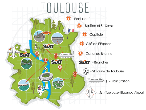 Toulouse City Map - Sixt Car Hire Euros Guide