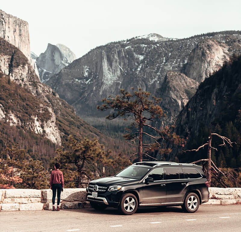 Mercedes GLS SUV overlooking mountains