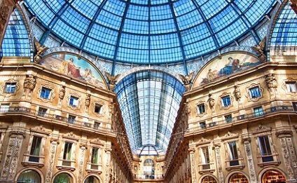 Inside beautiful Milan shopping arcade